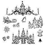Natale, alberi, angelo Illustrazione Vettoriale