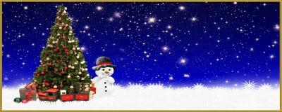 Natale: Albero di Natale e pupazzo di neve, insegna, fondo Immagini Stock