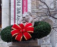 Natale alla biblioteca pubblica di New York fotografia stock