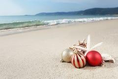 Natale alla spiaggia Fotografie Stock Libere da Diritti