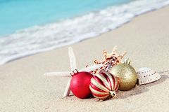 Natale alla spiaggia Immagini Stock Libere da Diritti