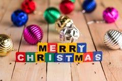 Natale allegro con le palle brillanti jpg Fotografia Stock Libera da Diritti