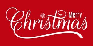 Natale allegro dell'iscrizione d'annata di Natale su fondo rosso illustrazione vettoriale