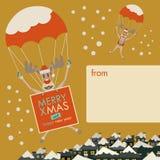 Natale allegro di desideri delle renne di Natale Fotografie Stock