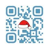 Natale allegro QR di codice leggibile di Smartphone con il cappello di Santa Claus illustrazione di stock
