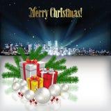 Natale astratto che accoglie con la siluetta della città Fotografie Stock Libere da Diritti