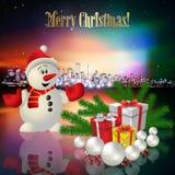 Natale astratto che accoglie con la siluetta della città Fotografia Stock