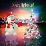 Natale astratto che accoglie con la siluetta della città Immagini Stock Libere da Diritti