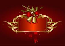 Natale-bandiera rossa e dorata Immagini Stock Libere da Diritti