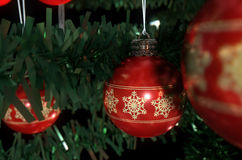 Natale Baubels in un albero Immagini Stock Libere da Diritti