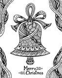 Natale Bell nel nero di stile di Zen-scarabocchio su bianco Fotografie Stock Libere da Diritti