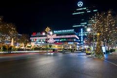 Natale Berlino di notte Immagine Stock