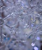 Natale bianco di inverno del bokeh di vetro del fiocco di neve Fotografia Stock