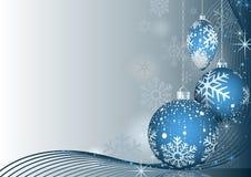 Natale blu che accoglie con le bagattelle Immagini Stock