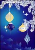 Natale blu con la decorazione Fotografie Stock Libere da Diritti