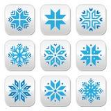 Natale, bottoni blu dei fiocchi di neve di inverno messi Immagine Stock