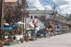 Natale Brasile di Gramado dei cervi della pioggia Immagine Stock