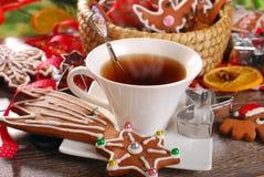 Natale caffè e biscotti del pan di zenzero Immagini Stock Libere da Diritti