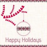 Natale, carta del nuovo anno con gli elementi di ricamo Fotografia Stock Libera da Diritti