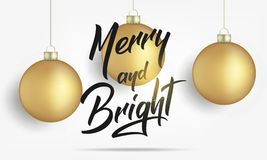 Natale Cartolina d'auguri con le palle realistiche di Natale dell'oro e la luce brillante Progettazione allegra e luminosa dell'i Fotografie Stock Libere da Diritti