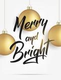 Natale Cartolina d'auguri con le palle realistiche di Natale dell'oro e la luce brillante Progettazione allegra e luminosa dell'i Immagini Stock