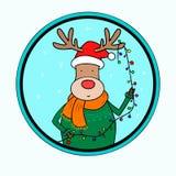 Natale cervi e luci di natale Immagini Stock Libere da Diritti