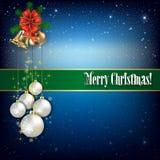 Natale che accoglie con le campane ed i fiocchi di neve di mano Immagini Stock