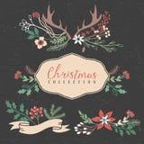 Natale che accoglie i mazzi con i fiori, le bacche ed i corni illustrazione di stock