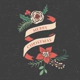 Natale che accoglie i nastri ed i mazzi illustrazione di stock