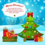 Natale che accoglie o carta di regalo con l'albero di natale. Fotografia Stock
