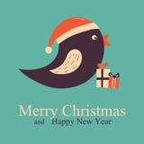 Natale che accolgono e carta del nuovo anno con l'uccello Fotografie Stock