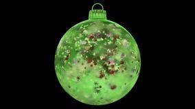 Natale che gira ciclo opaco variopinto del ghiaccio della decorazione di vetro verde della bagattella l'alfa illustrazione di stock