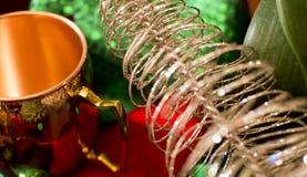 Natale che immagazzina lamé ed oro Fotografia Stock