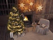 Natale che immagazzina sul fondo del camino rappresentazione 3d Immagini Stock