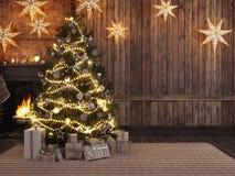 Natale che immagazzina sul fondo del camino rappresentazione 3d Fotografia Stock