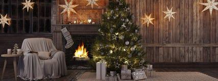 Natale che immagazzina sul fondo del camino rappresentazione 3d Immagine Stock Libera da Diritti