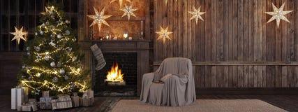 Natale che immagazzina sul fondo del camino rappresentazione 3d Fotografia Stock Libera da Diritti