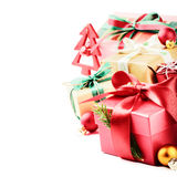 Natale che mette con i presente variopinti Immagine Stock Libera da Diritti