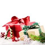 Natale che mette con i presente variopinti Fotografia Stock