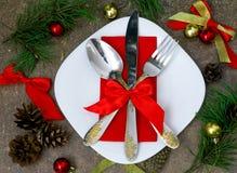 Natale che mette con le decorazioni festive Fotografie Stock