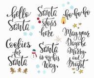 Natale che segna l'insieme con lettere di tipografia Fotografia Stock