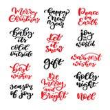 Natale che segna l'insieme con lettere di vettore Calligrafia isolata della scrittura Fotografia Stock Libera da Diritti