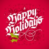 Natale che segna la cartolina d'auguri con lettere Fotografia Stock Libera da Diritti