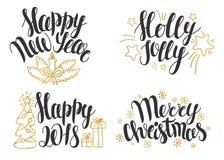 Natale che segna raccolta con lettere Frasi disegnate a mano per le carte del nuovo anno e di Natale Immagine Stock