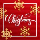 Natale Natale che segna testo con lettere sul fondo tricottato del maglione Fiocchi di neve realistici e festa di scintillio dell Fotografia Stock Libera da Diritti
