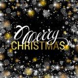 Natale che splende sul fondo nero con oro brillante e bianco Fotografia Stock Libera da Diritti