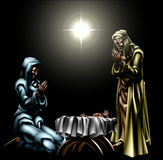 Natale Christian Nativity Scene royalty illustrazione gratis