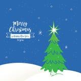Natale con la cartolina d'auguri della neve, il fondo ed il contesto, vettore Fotografia Stock Libera da Diritti