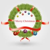 Natale corona e palle di natale Immagini Stock