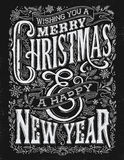 Natale d'annata ed imprigionamento di tipografia della lavagna del nuovo anno Fotografie Stock